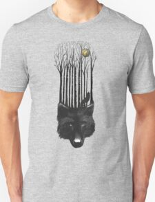 BLACK WOLF BARCODE in the woods illustration Unisex T-Shirt