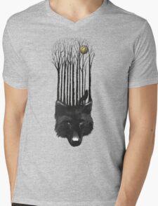 BLACK WOLF BARCODE in the woods illustration Mens V-Neck T-Shirt