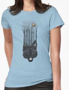 BLACK WOLF BARCODE in the woods illustration Womens Fitted T-Shirt