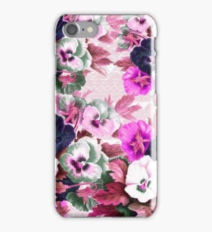 Vintage pink white pansies floral tribal pattern  iPhone Case/Skin