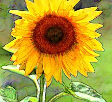 Sunflower, oilpainting style by Heike Richter