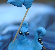 Close Up of Blue Alien Octopus Stakes his Claim by Amy Chace