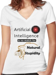 Artificial Intelligence vs. Natural Stupidity Women's Fitted V-Neck T-Shirt