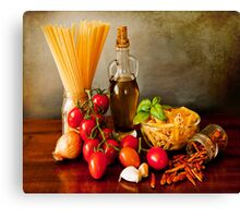 Italian pasta, arrabbiata sauce recipe Canvas Print