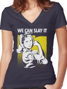 We Can Slay It Women's Fitted V-Neck T-Shirt