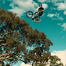 BMX flying over a gum tree by Peter Gray