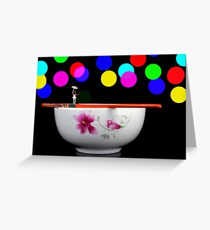 Circus balance game on chopsticks Greeting Card