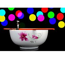 Circus balance game on chopsticks Photographic Print