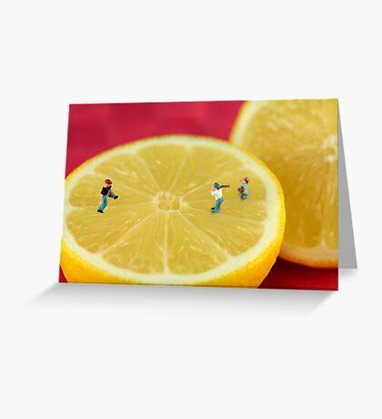 Playing baseball on lemon Greeting Card