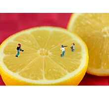 Playing baseball on lemon Photographic Print