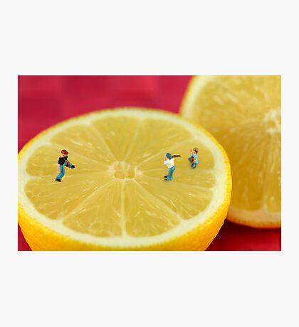 Playing baseball on lemon Photographic Print