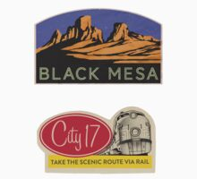 CITY 17 AND BLACK MESA - Gaming Luggage Labels Series by A.J.  Hateley