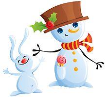 Christmas Snowman & Bunny by maniacreations