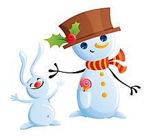 Christmas Snowman & Bunny Photographic Print