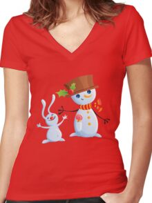 Christmas Snowman & Bunny Women's Fitted V-Neck T-Shirt