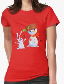 Christmas Snowman & Bunny Womens Fitted T-Shirt