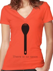 There is no spoon - Black Women's Fitted V-Neck T-Shirt