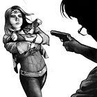 Wonder Woman Deflecting Bullets by Laura Guzzo
