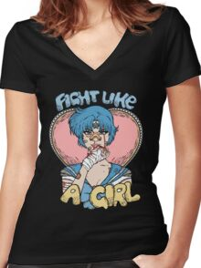 Sailor Moon- Fight Like a Girl (Sailor Mercury) Women's Fitted V-Neck T-Shirt