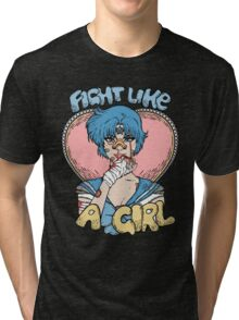 Sailor Moon- Fight Like a Girl (Sailor Mercury) Tri-blend T-Shirt