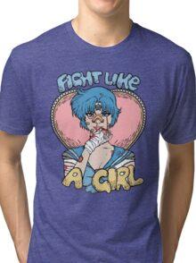 Sailor Moon- Fight Like a Girl (Sailor Mercury) Tri-blend T-Shirt