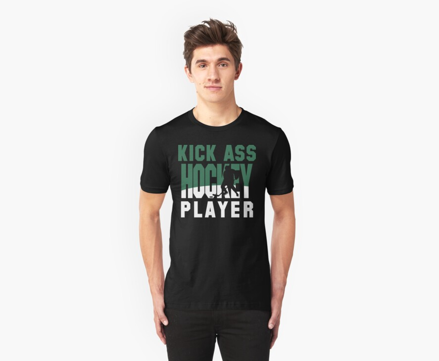 Hockey Player Team Colors Green and White by SportsT-Shirts