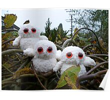 Hand Knitted Three cute Owl babies Poster
