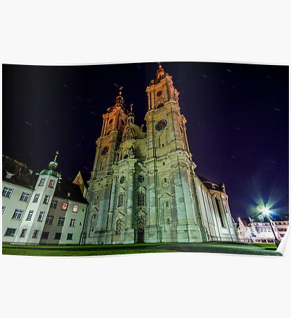 Star trails & the Abbey of Saint Gall Poster