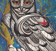 snowy owl with red star by resonanteye