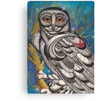snowy owl with red star Canvas Print
