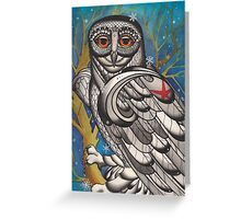 snowy owl with red star Greeting Card