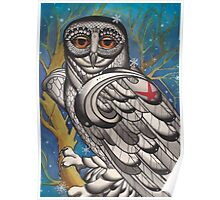 snowy owl with red star Poster