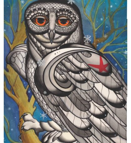snowy owl with red star Sticker