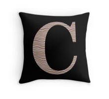 Letter C Metallic Look Stripes Silver Gold Copper Throw Pillow