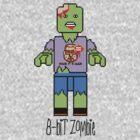 8-Bit Lego Zombie wearing the Mark It 8 Dude T-shirt by Ben Sloma