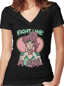 Sailor Moon- Fight Like a Girl (Sailor Jupiter) Women's Fitted V-Neck T-Shirt