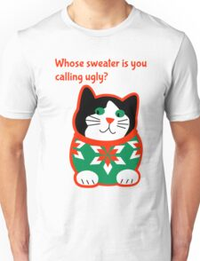 Ugly Christmas Sweater Cat Unisex T-Shirt