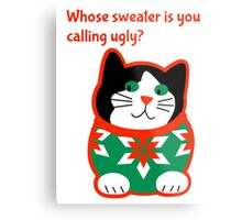 Ugly Christmas Sweater Cat Metal Print