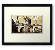 The Chapel of Our Lady, Rotherham Bridge, Yorkshire early 19th century Framed Print
