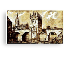 The Chapel of Our Lady, Rotherham Bridge, Yorkshire early 19th century Canvas Print
