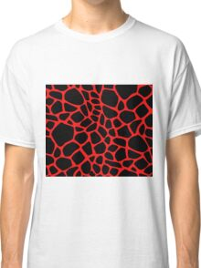 Giraffe Pattern (Black on Red) Classic T-Shirt