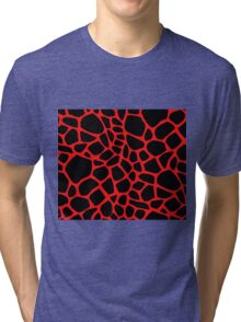 Giraffe Pattern (Black on Red) Tri-blend T-Shirt