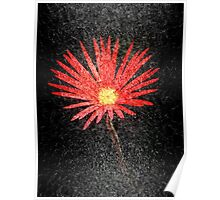 Red Daisy on black background | Abstract Art Poster