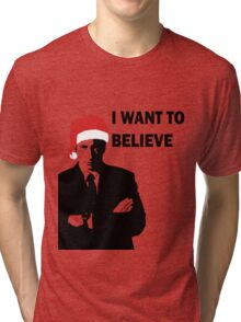 Fox Mulder Wants to Believe in Santa Tri-blend T-Shirt