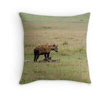 Spotted Hyena on carcase Throw Pillow