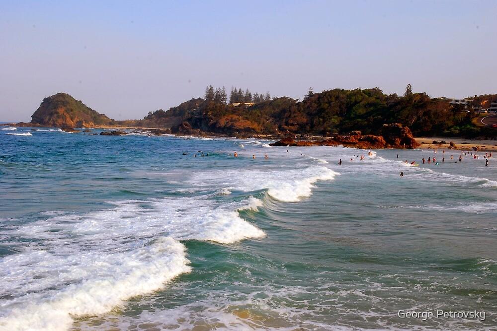 Flynn's Beach Surfing by George Petrovsky