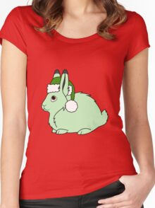 Light Green Arctic Hare with Christmas Green Santa Hat Women's Fitted Scoop T-Shirt