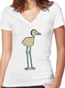 long legged bird Women's Fitted V-Neck T-Shirt