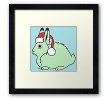 Light Green Arctic Hare with Christmas Red Santa Hat Framed Print