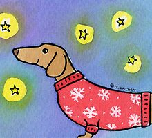 Dachshund Puppy Dog Waiting for Snow by Zoe Lathey